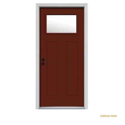 30 in. x 80 in. 1 Lite Craftsman Mesa Red Painted Steel Prehung Right-Hand Inswing Front Door w/Brickmould