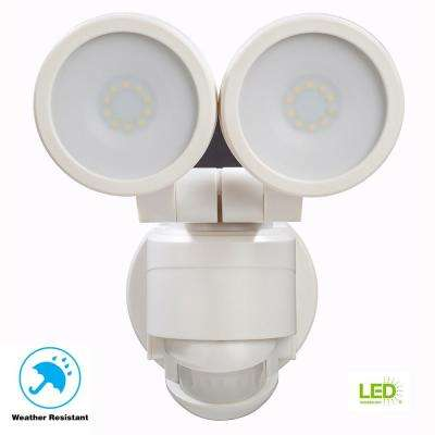 180 Degree White Motion Activated Outdoor Integrated LED Twin Head Flood Light
