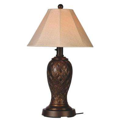 Monterey 34 In. Bronze Outdoor Table Lamp With Antique Beige Linen Shade