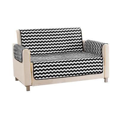 Fifi Water Resistant Black Fit Polyester Fit Loveseat Slip Cover