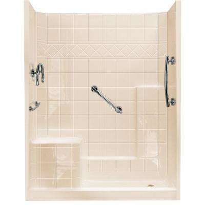 32 in. x 60 in. x 77 in. Freedom Low Threshold 3-Piece Shower Kit in Bone with Chrome Package, Left Seat and Right Drain