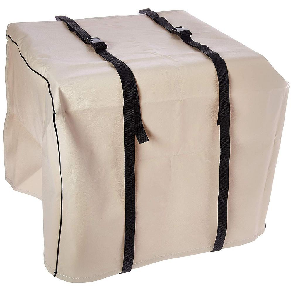 AC-Safe Small Air Conditioner Exterior Cover, Beige/Bisque The A/C Safe Air Conditioner Small Exterior Cover helps eliminate cold drafts coming through your home's air conditioner. This cover is made of heavy-duty vinyl with a 100% fleece liner. This liner is resistant to mold and mildew. The cover is designed to withstand rain, ice, sub-zero temperatures and strong winds. The cover has 2 web belts with snap-lock buckles for an easy and tight installation. Color: Beige/bisque.