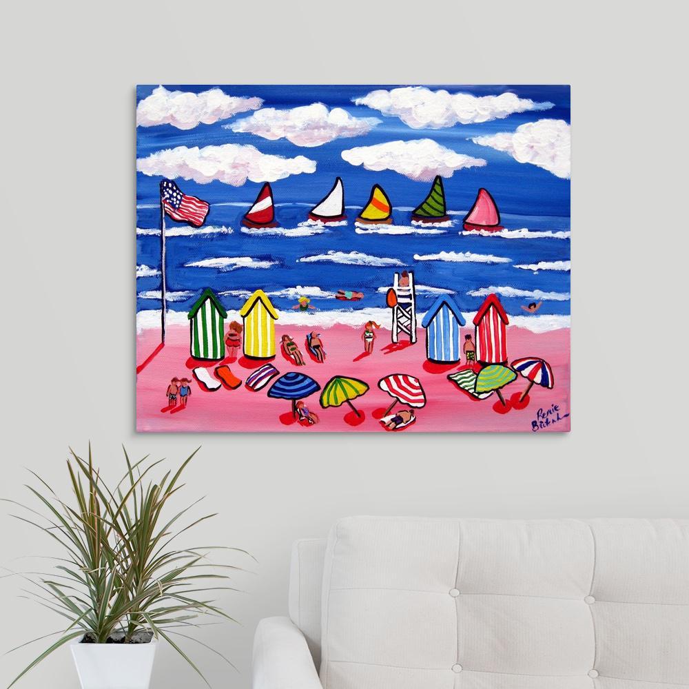 greatbigcanvas fun beach scene by renie britenbucher canvas wall art 2523527 24 30x24 the. Black Bedroom Furniture Sets. Home Design Ideas