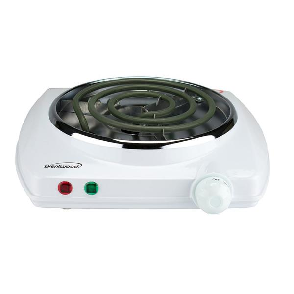 Brentwood Single Burner 5 in. White Hot Plate with Temperature Control
