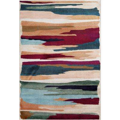 Contemporary Modern Stripes Multi 3 ft. 3 in. x 5 ft. Indoor Area Rug