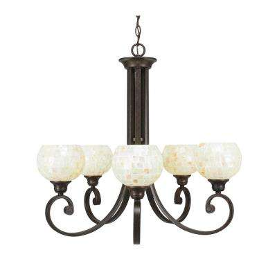 5-Light Bronze Chandelier with Mystic Seashell Glass Shade