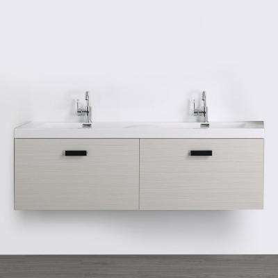 63 in. W x 18.2 in. H Bath Vanity in Gray with Resin Vanity Top in White with White Basin