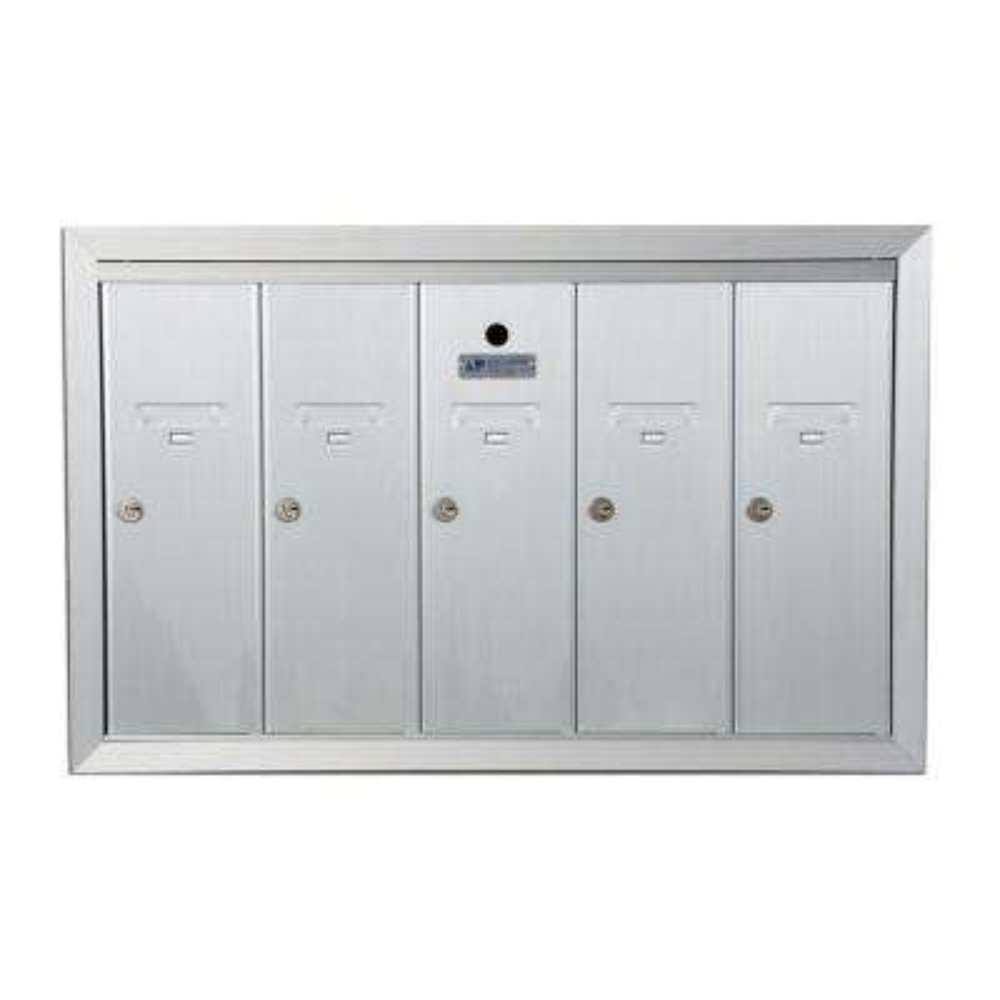 1250 Vertical Series 5-Compartment Aluminum Recess-Mount Mailbox
