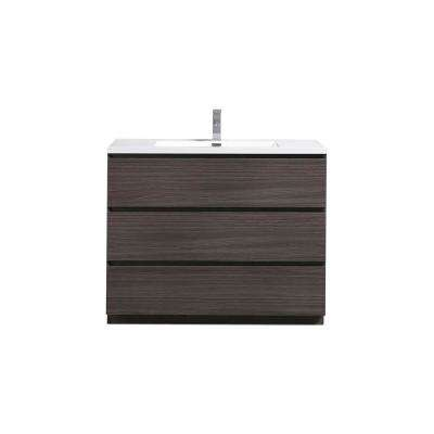 Angeles 42 in. W Vanity in Dark Gray Oak with Reinforced Acrylic Vanity Top in White with White Basin