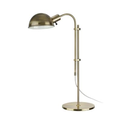 27 in. Satin Nickel Desk Lamp with Metal Lamp Shade and Adjustable Height