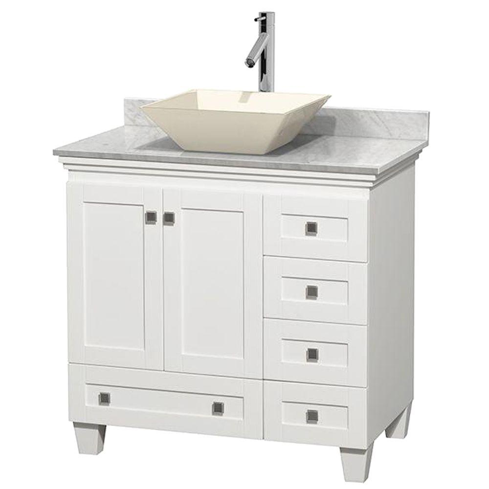 Wyndham Collection Acclaim 36 in. W Vanity in White with Marble Vanity Top in Carrara White and Bone Sink