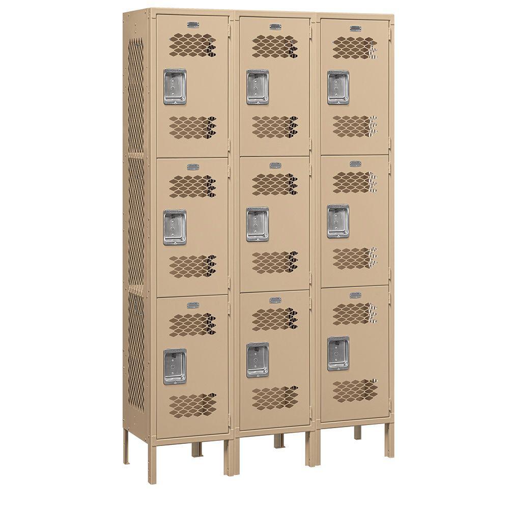 83000 Series 45 in. W x 78 in. H x 15 in. D 3-Tier Extra Wide Vented Metal Locker Assembled in Tan