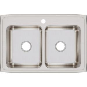 Lustertone Drop-In Stainless Steel 33 in. 1-Hole Double Bowl Kitchen Sink