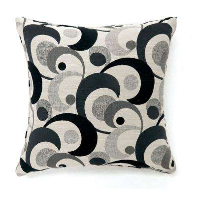 Swoosh 18 in. Contemporary Throw Pillow in Black (Pack of 2)