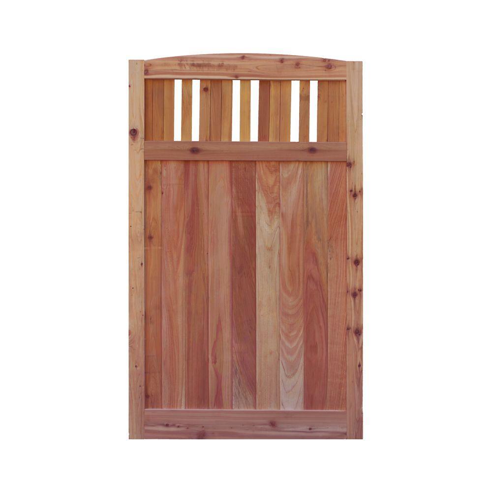 3.5 ft. H W x 6 ft. H H Western Red Cedar Arch Top Vertical Lattice Fence Gate