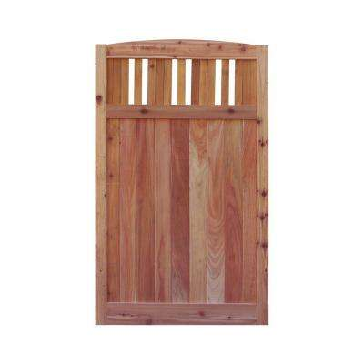 3.5 ft. H W x 6 ft. H H Western Red Cedar Arch Top Vertical Lattice Fence Gate
