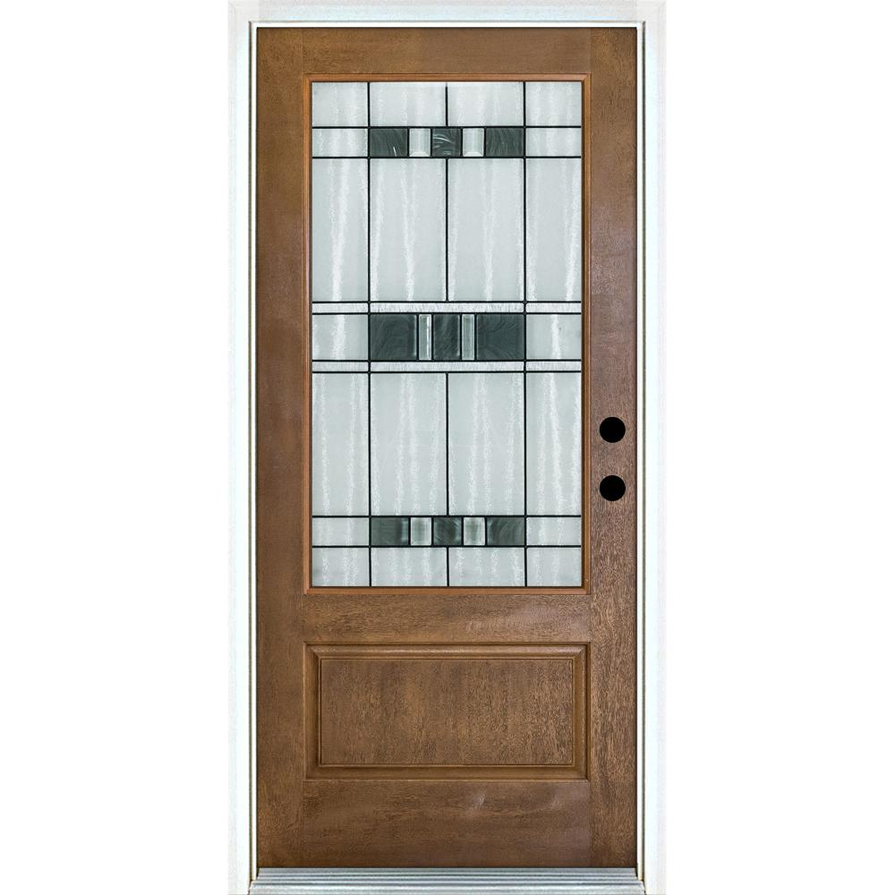MP Doors 36 in. x 80 in. Savana Medium Oak Left-Hand Inswing 3/4 Lite Decorative Fiberglass Prehung Front Door