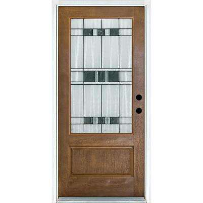 36 in. x 80 in. Savana Medium Oak Left-Hand Inswing 3/4 Lite Decorative Fiberglass Prehung Front Door