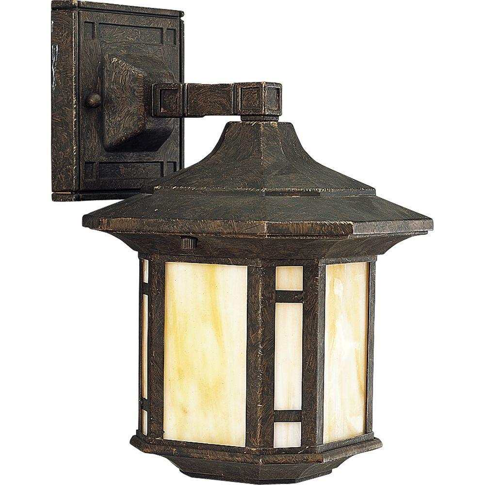 Arts and Crafts Collection 1-Light Bronze Weathered 10.5 in. Outdoor Wall Lantern Sconce