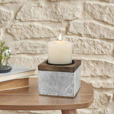 4 in. Cement Pillar Candle Holder