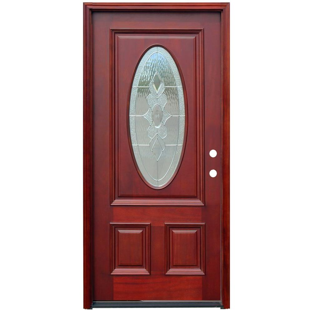 36 in. x 80 in. Traditional 3/4 Oval Stained Mahogany Wood