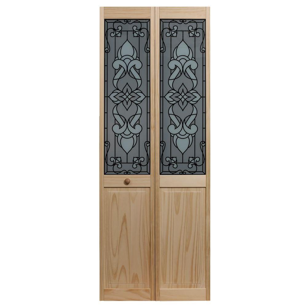 30 in. x 80 in. Bistro Glass Over Raised Panel Pine Interior Bi-fold Door