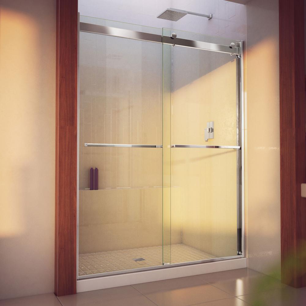 Essence-H 56 to 60 in. x 76 in. Semi-Frameless Bypass Sliding Shower Door in Chrome