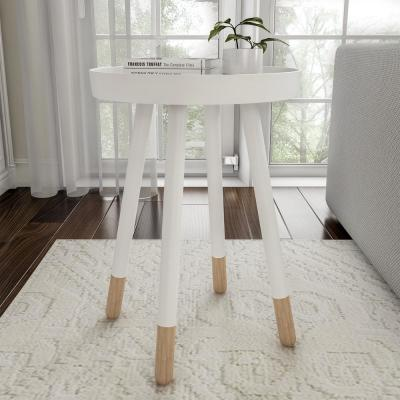 White Wooden Round Tray Top Color-Block Side Table