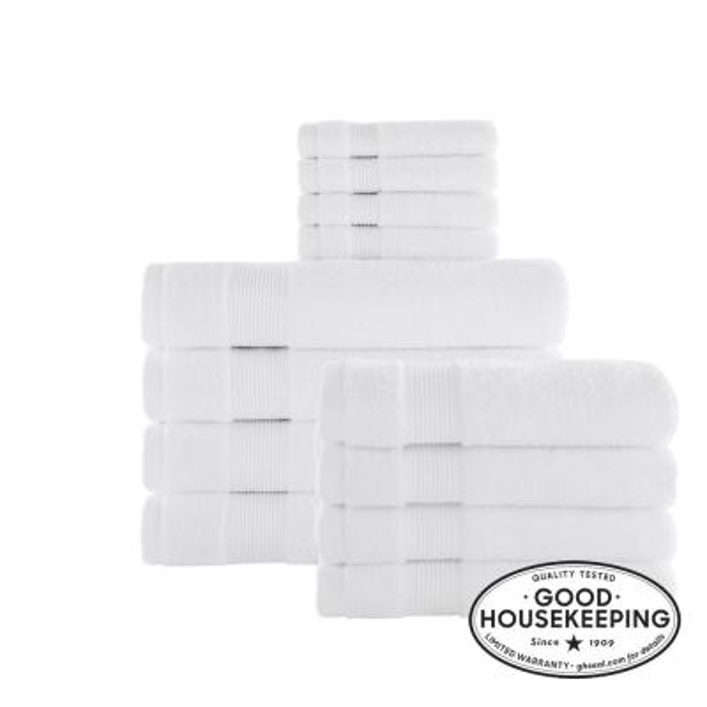 12-Piece Hygrocotton Towel Set in White