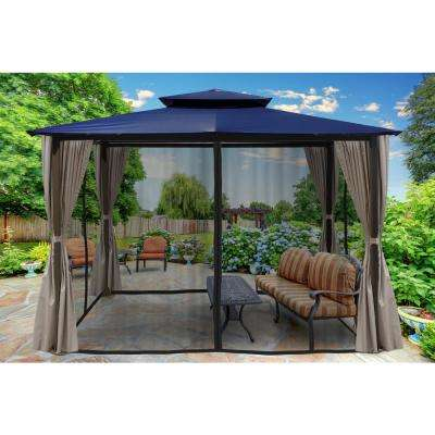 Paragon 10 ft. x 12 ft. Gazebo with Navy Top and Privacy Curtains and Mosquito Netting