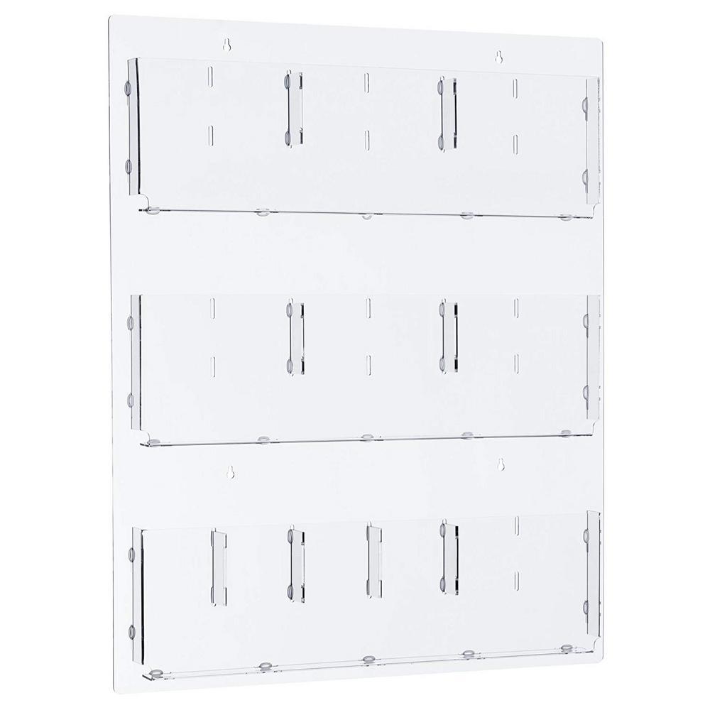 AdirOffice AdirOffice 29 in. x 35 in. Adjustable Pockets Clear Acrylic Hanging Magazine Rack