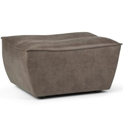 Julian 24 in. Contemporary Ottoman Bench in Distressed Warm Grey Faux Air Leather