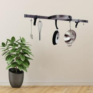 Enclume Hammered Steel Wall Mounted Shelf with Half Circle Wall Pot Rack by Enclume