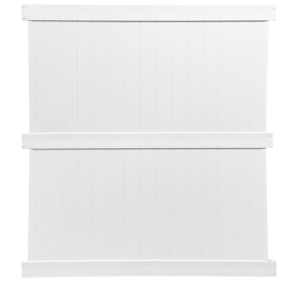 Augusta 8 ft. H x 6 ft. W White Vinyl Privacy Fence Panel Kit