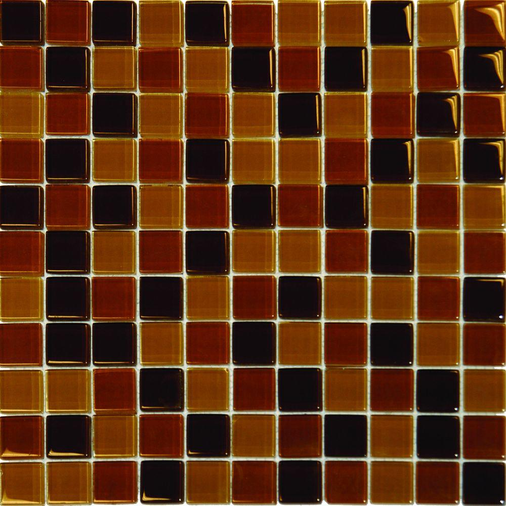 Msi brown blend 12 in x 12 in x 8 mm glass mesh mounted for Installing glass tile with mesh back