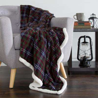 Green and Red Plaid Fleece Sherpa Throw