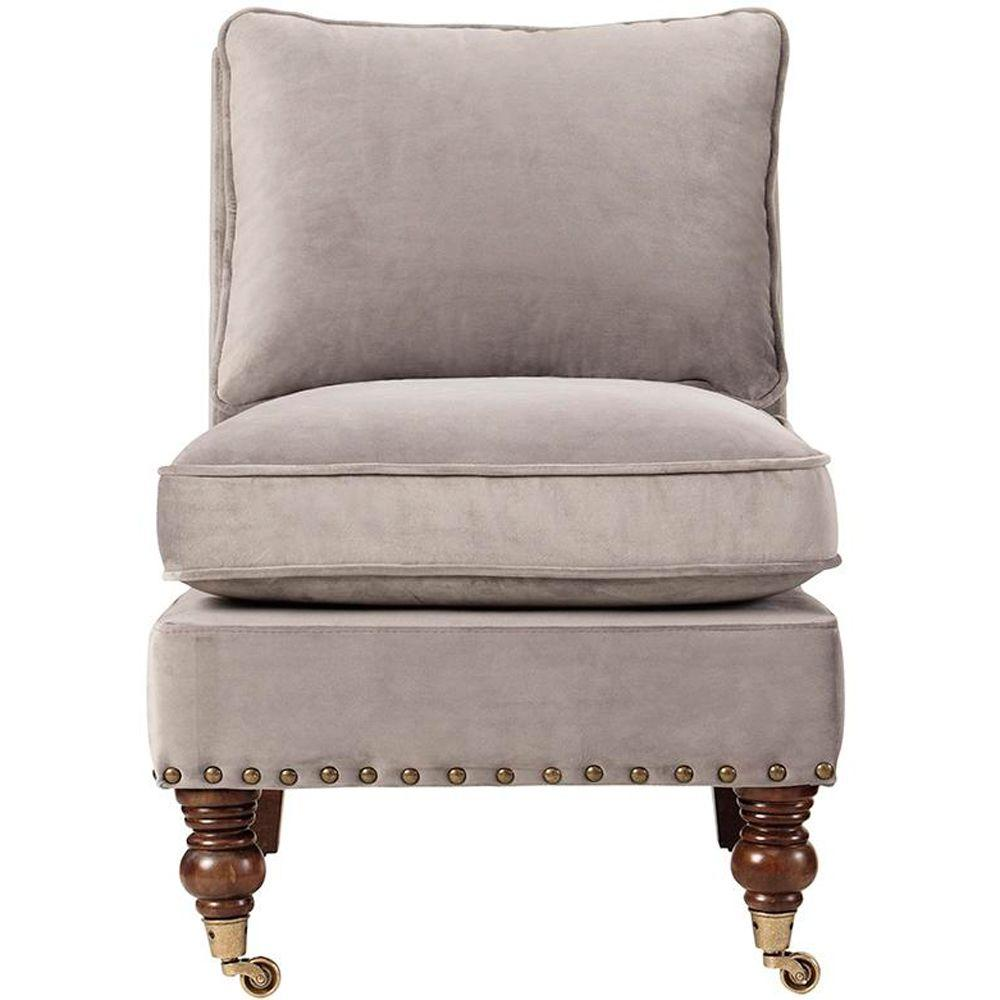 Home Decorators Collection Harrison Linen Armless Chair with Nail Head in Velvet Grey