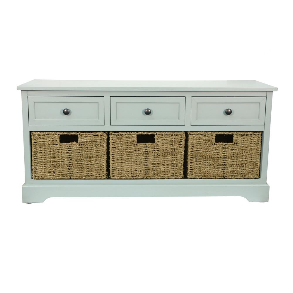 Montgomery Antique Iced Blue Storage Bench