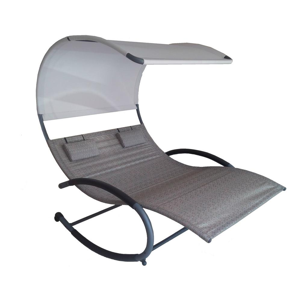 Vivere Double Chaise Grey Steel Sienna Sling Outdoor Rocker