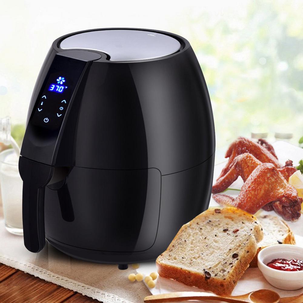 1500-Watt Electric Air Fryer 4.8 Qt. Touch LCD Screen Black/ White