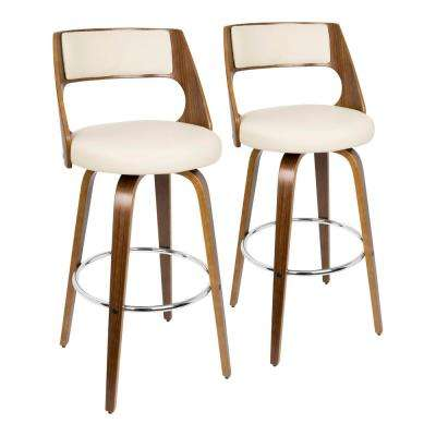 Cecina 30 in. Walnut and Cream Faux Leather Bar Stool (Set of 2)