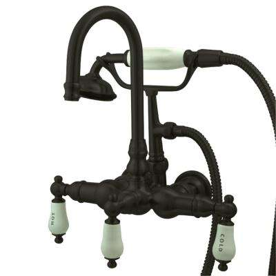 3-Handle Wall-Mount Claw Foot Tub Faucet with Hand Shower in Oil Rubbed Bronze