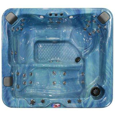 6-Person 37-Jet Lounger Spa Hot Tub with Bluetooth Stereo System, Subwoofer and Backlit LED Waterfall
