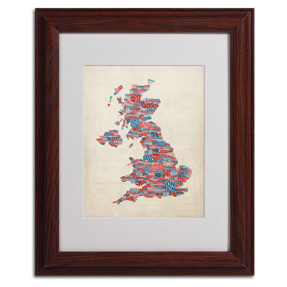 Trademark Fine Art 11 in. x 14 in. UK Cities Text Map 2 Matted Framed Art