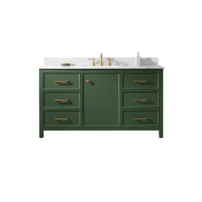 60 in. W x 22 in. D Vanity in Vogue Green with Marble Vanity Top in White with White Basin with Backsplash