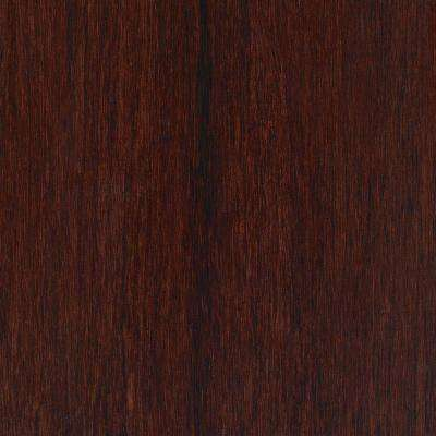 Take Home Sample - Hand Scraped Strand Woven Bamboo Cherry Sangria Vinyl Plank Flooring - 5 in. x 7 in.