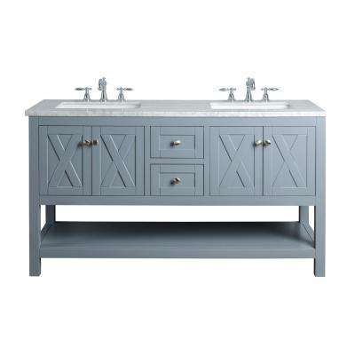 Anabelle 60 in. Grey Double Sink Bathroom Vanity with Marble Vanity Top and White Basin