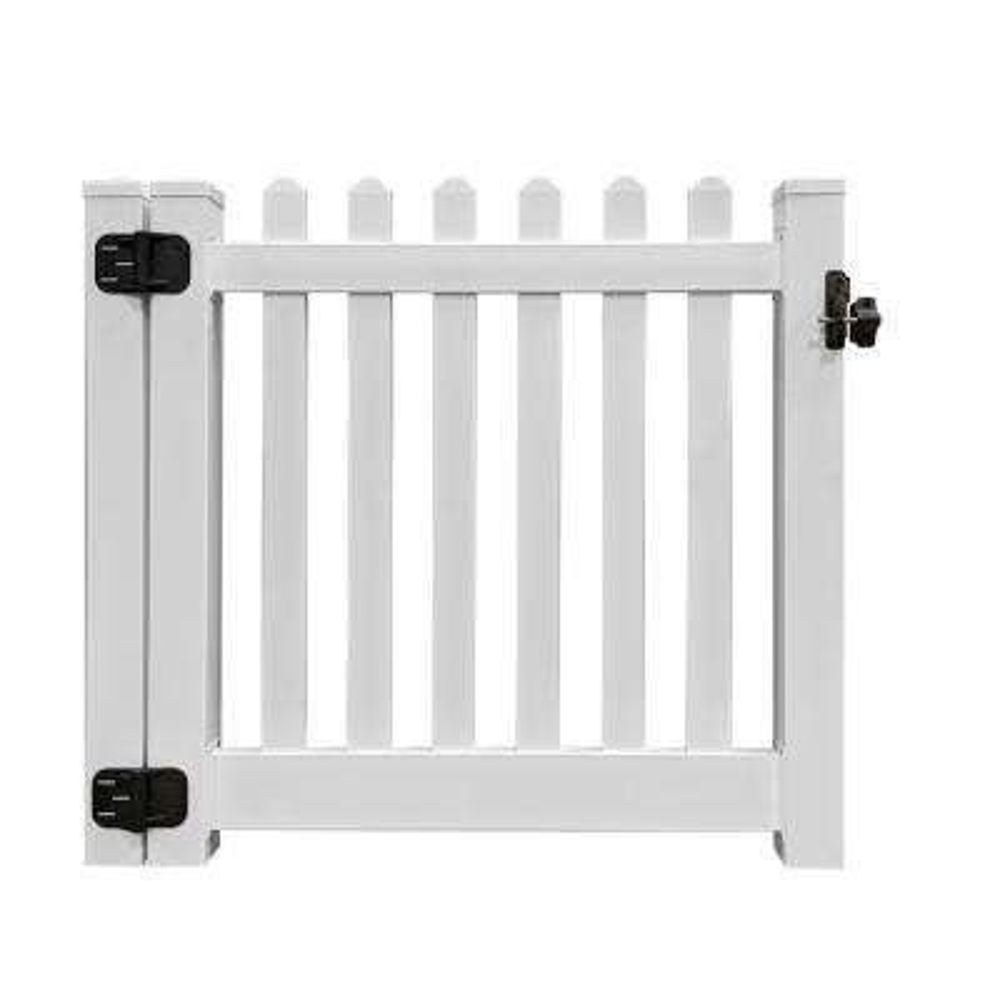 Spokane 4 ft. W x 4 ft. H White Premium Vinyl Picket Fence Gate EZ Pack