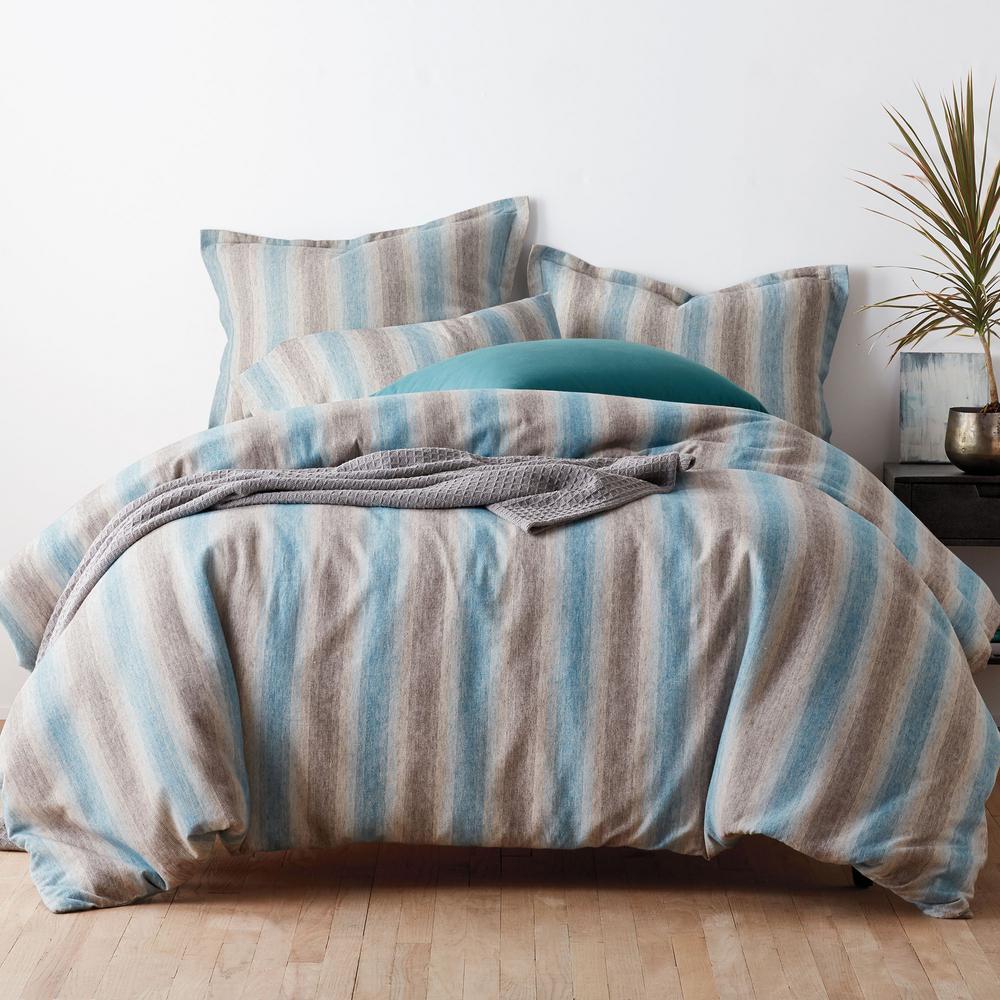 The Company Store Endicott Stripe Blue Multi Yarn Dye Flannel Queen