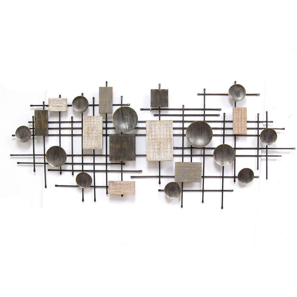 Distressed Industrial Metal & Wood Wall Decor